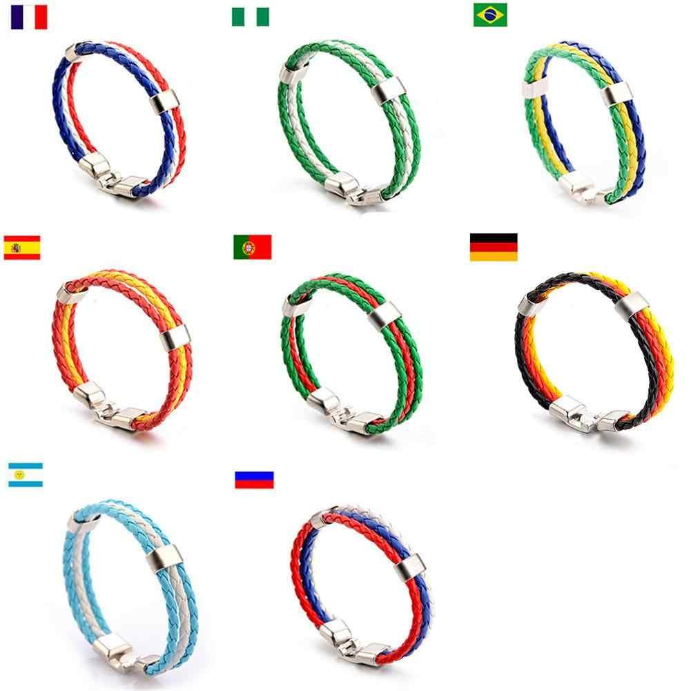 חדש אופנה סרוג לאומי דגל בצבע עור כדורגל צמיד יוניסקס סגסוגת ספורט צמידי תחבושות רצועת יד