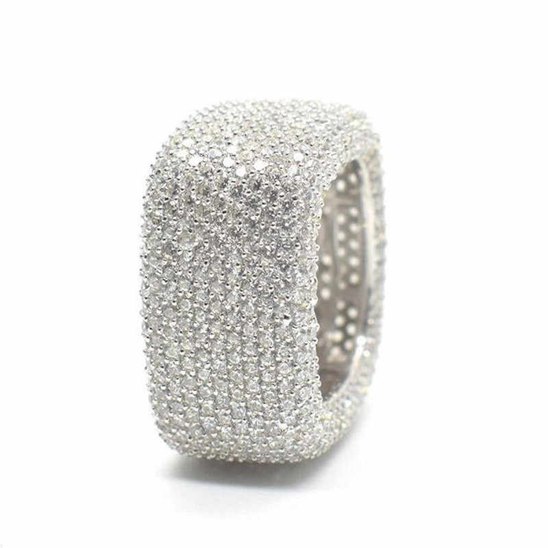 Choucong fait à la main creux anneau de doigt 925 en argent sterling Micro pavé 450 pièces AAAAA cz anneaux de mariage pour les femmes hommes bijoux