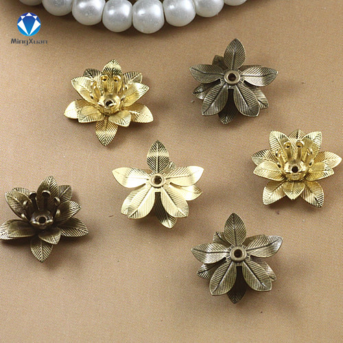 MINGXUAN Copper Filigree Flowers Base Connector Bead Cap Charms Setting For Jewelry Making Components 1