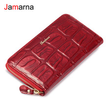 Jamarna Wallet Female Genuine Leather Women Wallets Zipper Red Crocodile Pattern Long Clutch Female Purse Phone Card Holder Coin(China)