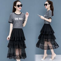 Lace Fashion Short Sleeve T shirts And Skirts Summer Set Women Vintage 2 Piece Set Mesh Set Letter Two Piece Kawaii Clothes
