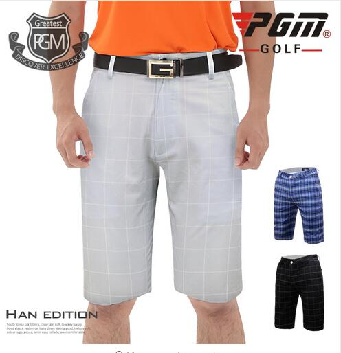 PGM Mens Knee length Plaid Shorts summer breathable Quick Dry British Style Golf Shorts Mens Outdoor Sports Golf Sportswear