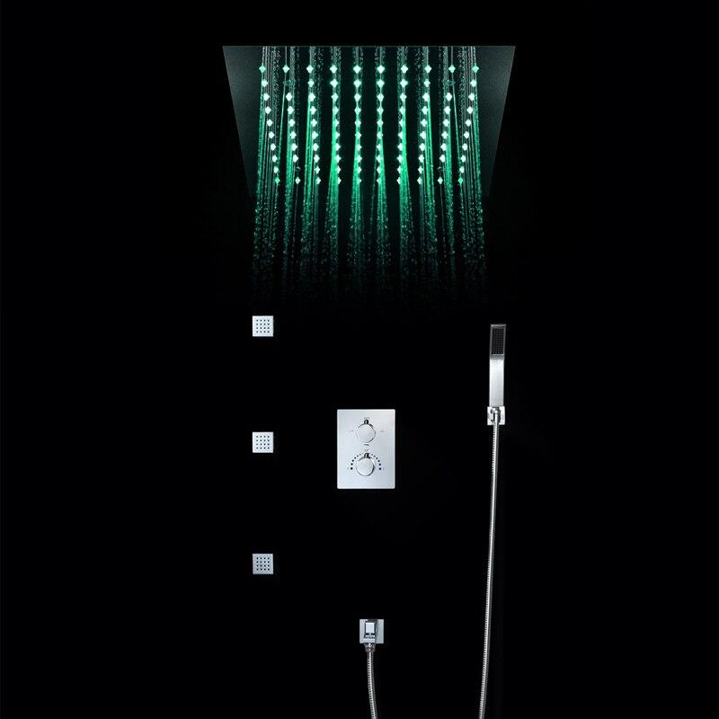 Plafonniers 64 couleurs LED pomme de douche à effet pluie 4 fonctions robinets de douche brossé ensemble eau puissance lumière salle de bains douche de pluie