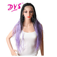Deyngs Ombre Braid Straight Lace Front Wigs For Black Women Dark Root Purple Red Blonde Color Hair Naturally Synthetic Fiber