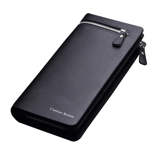 Men's Large Leather Wallet with Zipper