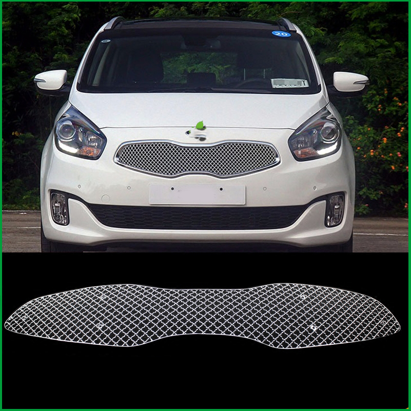 Car styling Stainless Steel Front Bumper Honeycomb Grille For Kia Carens 2013 2014 2015 Center grill Cover Trim Accessories stainless steel full window with center pillar decoration trim car accessories for hyundai ix35 2013 2014 2015 24