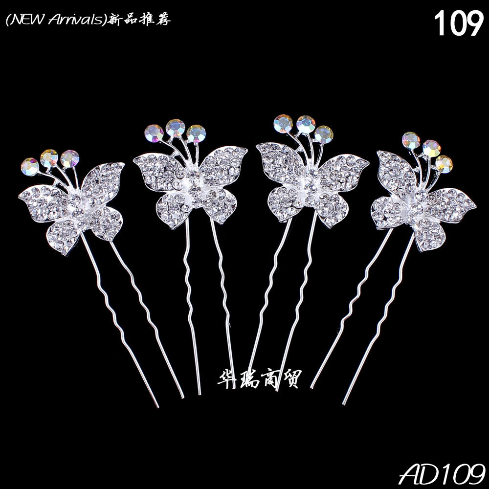 Butterfly hair accessories for weddings uk - Free Shipping 10pcs Clear Crystal Butterfly Hair Pin Clips Slide Women Wedding Bridal Hair Jewelry Women