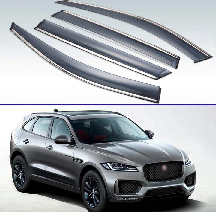 2014 2015 2016 2017 2018 4pcs For Jaguar F-PACE 2013-2019 Plastic Exterior Visor Vent Shades Window Sun Rain Guard Deflector