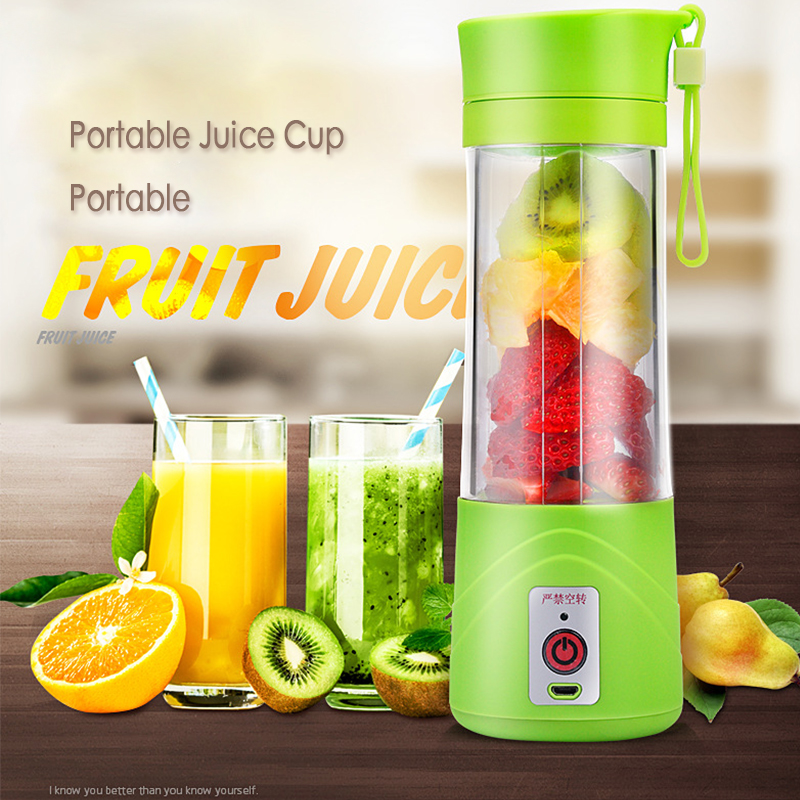 USB Juicer Cup, Fruit Mixing Machine, Portable Personal Size Eletric Rechargeable Mixer, Blender, Water Bottle 380ml With USB