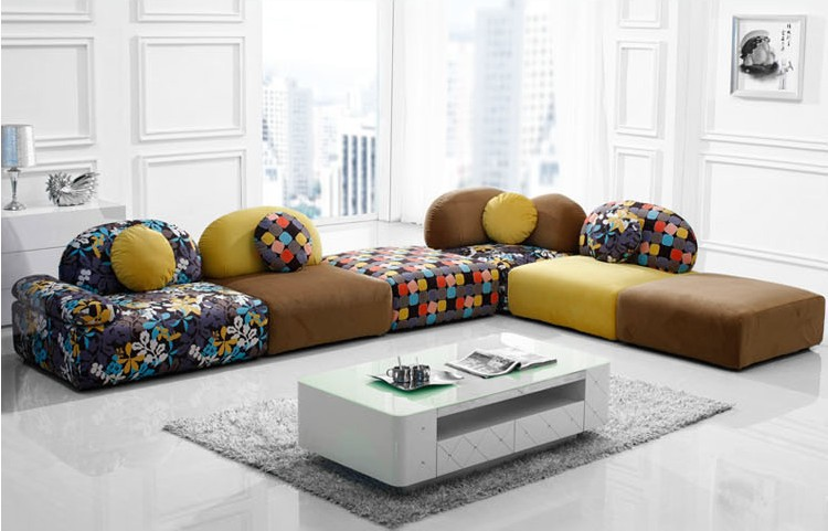 U BEST Heisser Verkauf Stoff Sofagarnitur Set Wohnzimmer Abschnitt Sofa Farbenfrohes