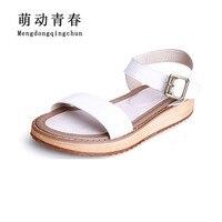 Women Sandals 2017 Genuine Leather wedge heels Sandals Women Shoes Girls Platform Buckle Open Toe Sandals Casual Plus Size 43