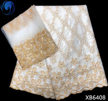 BEAUTIFICAL White bazin lace fabrics gold embroidery fabric Latest design african getzner for women dress XB64