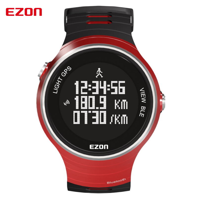 EZON Pedometer GPS Smart Bluetooth Sport Watches Waterproof 50m Calories Count Digital Watch Running Watch for IOS Android ezon outdoor sports for smart gps watches running male multifunctional 5atm waterproof electronic watch g1 black
