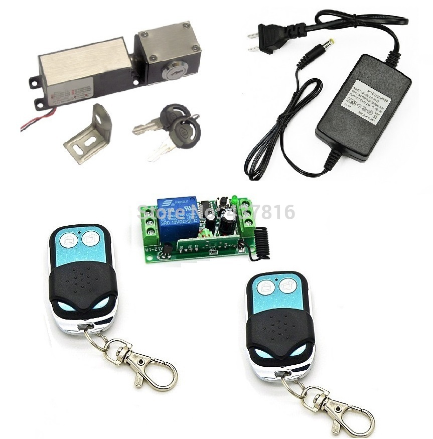 600lbs Fail secure Drawer Lock NC Model Electronic Cabinet Lock Mini Electric Bolt Lock with Emergency KEY+ 2 Remote Switch 315mhz fail secure remote control electric strikes remote electric lock 2 remote handle
