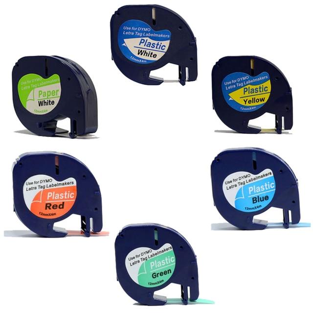 6 pack/lote Compatible DYMO Letratag LT Mixta 91200 91201 91202 91203 91204 91205 cinta de etiquetas para DYMO impresora de etiquetas de plástico