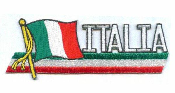 """Italia Флаг Вышивка Нашивки 3 """"Сделано саржа с тепло сократить края и железо на поддержку MOQ50pcs Бесплатная доставка"""