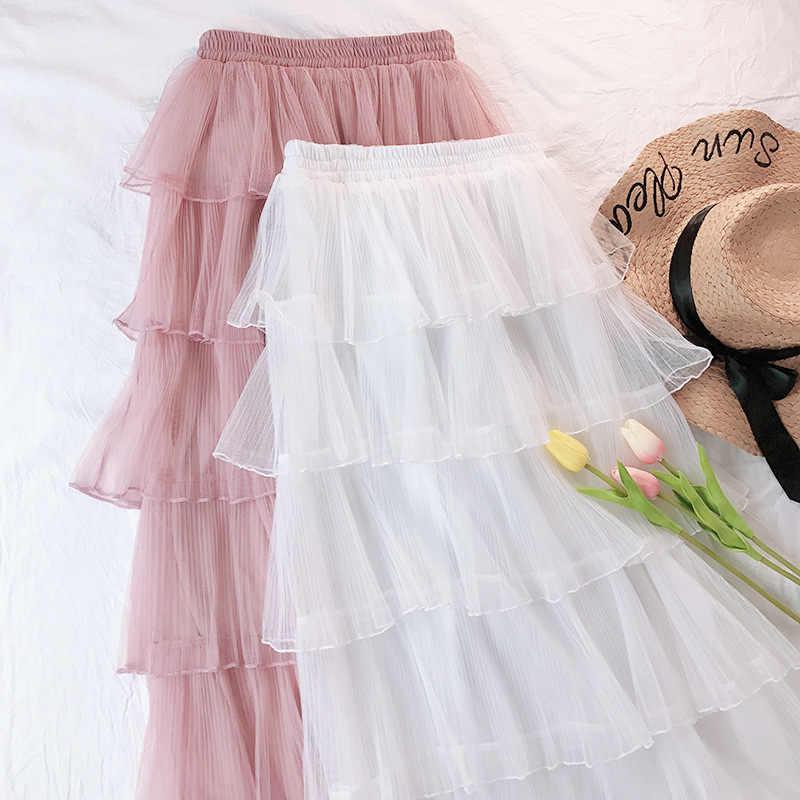 Модное платье-пачка Женская юбка из тюля длиной макси платье покроя «Принцесса», Высокая талия с оборками Винтаж; платье с фатиновой юбкой в складку ins юбки M190537