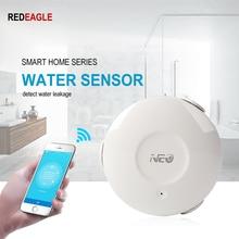 Inteligentny dom elektryczny czujnik wody WiFi powódź wykrywacz nieszczelności Alarm App wsparcie powiadomienia iOS Android powiadomienia