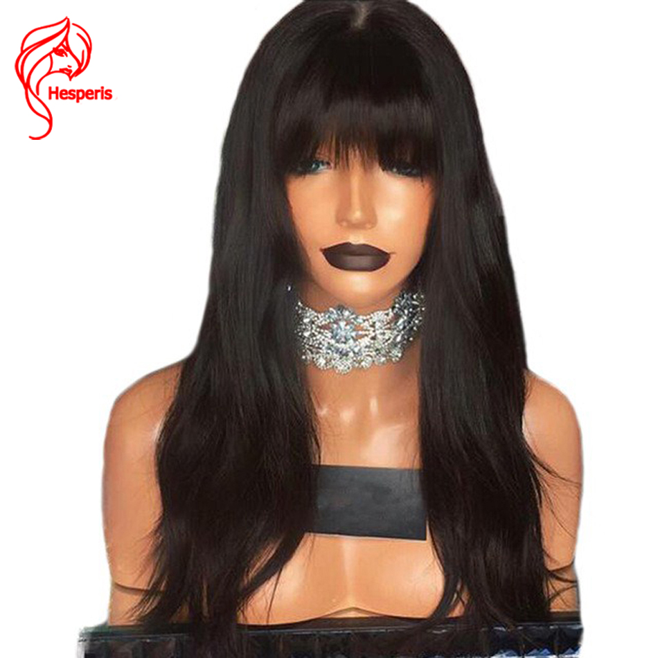 Hesperis 150 Density Lace Front Human Hair Wigs Brazilian Remy Hair Wavy Lace Wig With Bangs With Baby Hair Bleached Knots