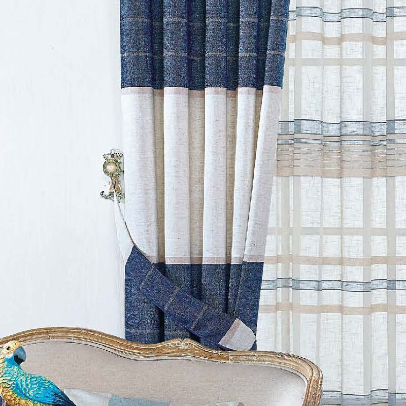 Luxury Thick Chenille North European Style Curtains Striped Blind For  Living Room Study Room Fashion Cowboy
