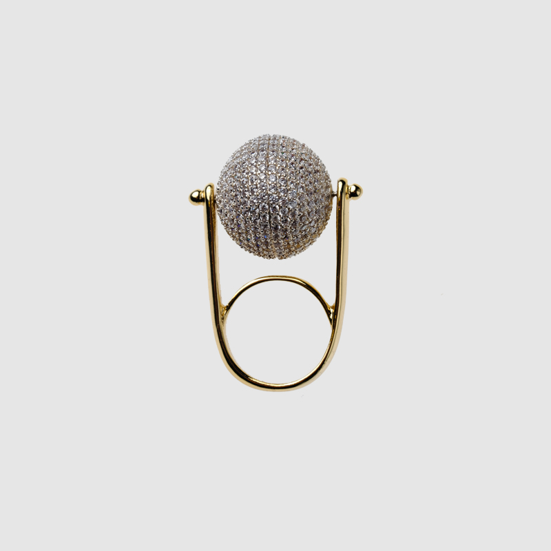Amorita boutique cystal rotatable ball ring