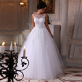 White Lace Ball Gown Wedding Dress 2016 Tulle Robe De Mariage Plus Size Bridal Gown Beaded Custom Scoop New Bridal Wedding Gown