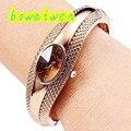 bowaiwen #0056 woman watches Fashion Golden Oval Quartz Watch Lady Cuff Bangle Bracelet Wristwatch