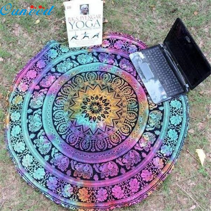 Ouneed Lovely Pets hot selling Fashion Round Beach Pool Home Shower Towel Blanket Table Cloth Mat Jul8