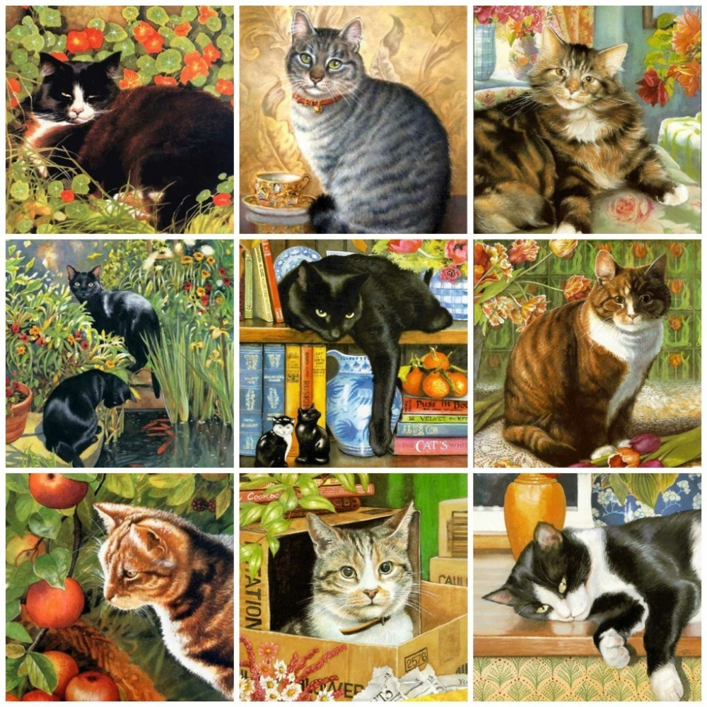 Huacan Diamond Embroidery Cats Diamond Painting Full Square Cat Animals Pictures Rhinestones Cross Stitch Mosaic Home Decor in Diamond Painting Cross Stitch from Home Garden