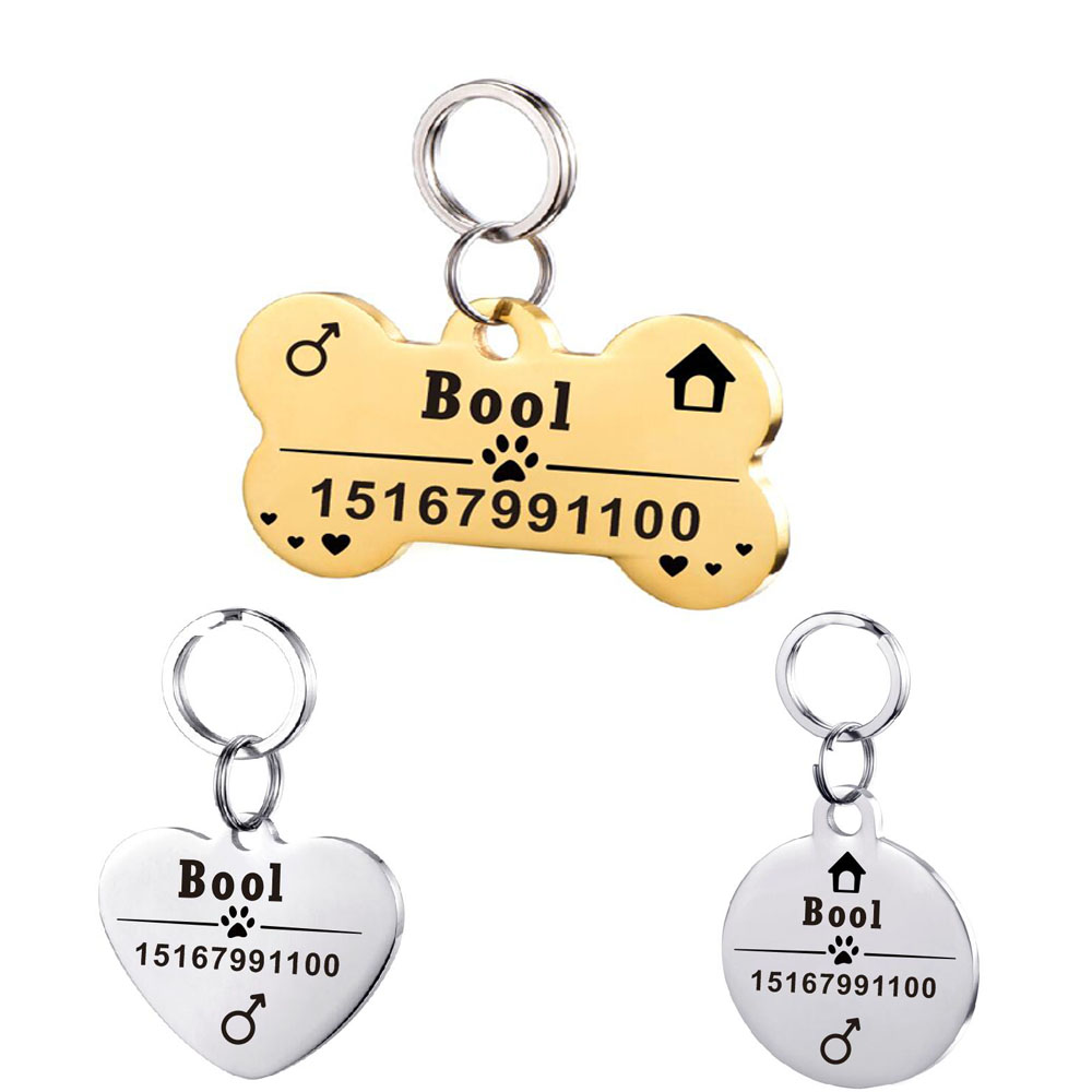 Stainless Steel Pet ID Tags Free Laser Engraved Pet Tag for Dog cats  Accessories Pet ID Tags Breakaway from Collar Name Tel Sex