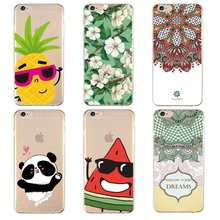 Mandala Zachte Clear TPU Telefoon Case Voor iPhone 4/4 s 5 5 s 6 6 plus 7 8 plus Voor iPhone x Siliconen Fruit Flora Bag Cover Gratis verzending(China)
