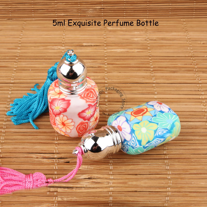 50pcs Lot Wholesale 5ml Glass Perfume Bottle with Soft Floral Prints Clay Mini 5cc Roll On
