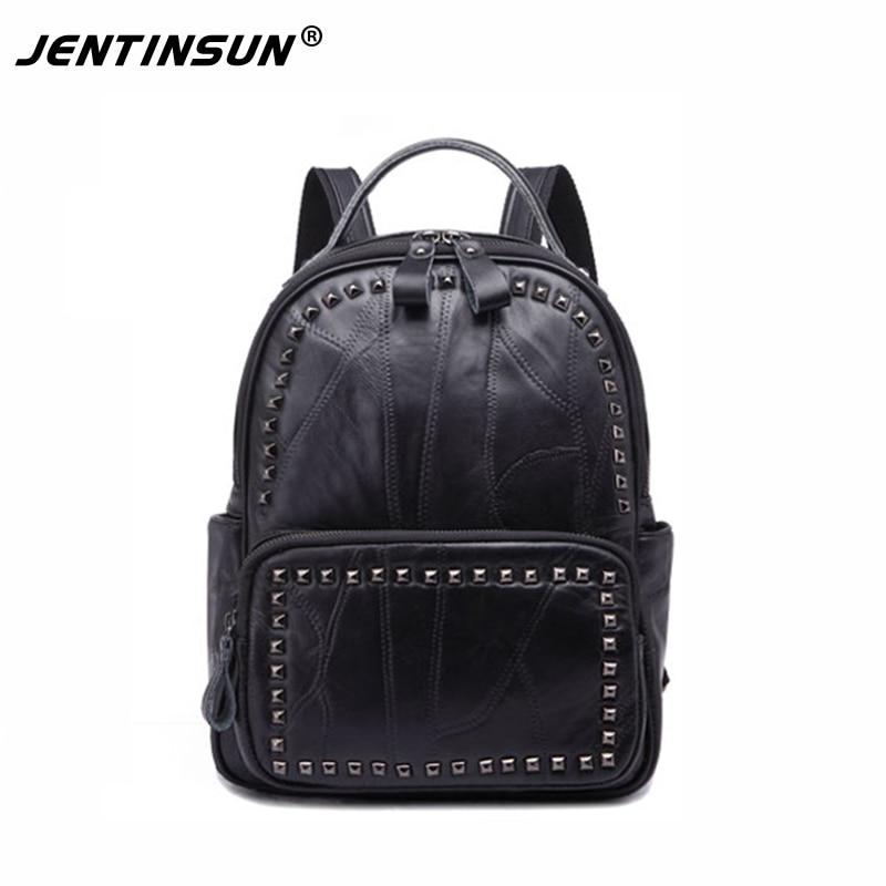 Genuine Leather Women Backpack High Quality Sheepskin Mochila Escolar School Bags For Teenagers Girls Fashion Rivet Travel Bags