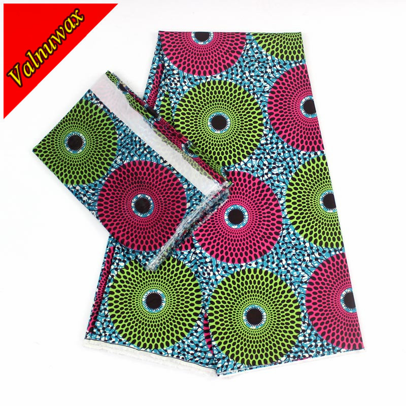 High quality pink&green ankara african fabric soft material 2yards chiffon+4yards audel,modell fabric for dress YBG