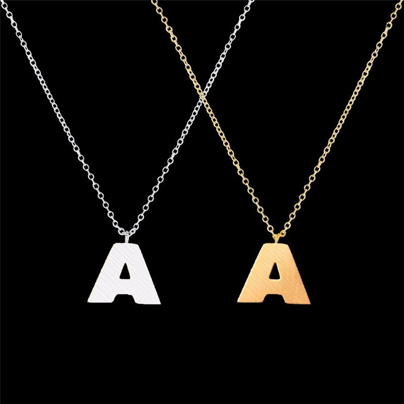 Stainless Steel Uppercase LetterA B C D E F G H I J K L M N O P Q R S T U V W X Y ZPendant Necklaces Fashion Women Jewelry