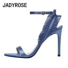 66b54b146d Azul de Seda Mulheres Gladiator Sandals com Tira No Tornozelo Bombas Finos Saltos  Altos Das Senhoras
