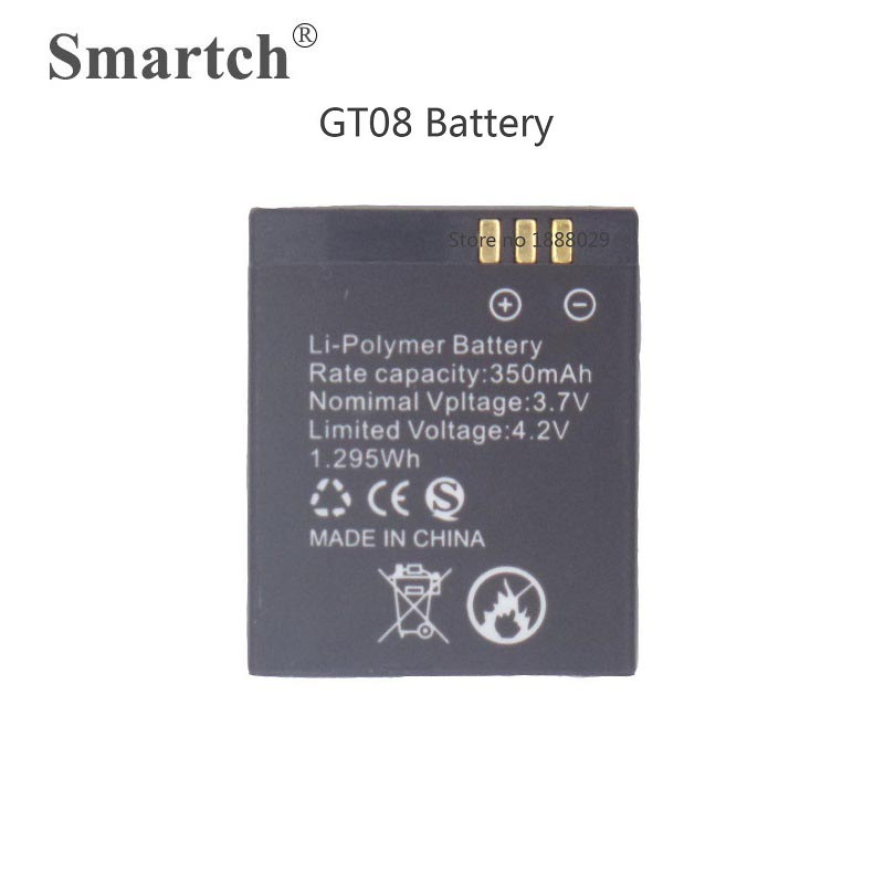Replacement Battery Fits for GT08 Smart Watch,3.7V 350mAh,Rechargeable Lithium Polymer Battery for Smart Watch GT08