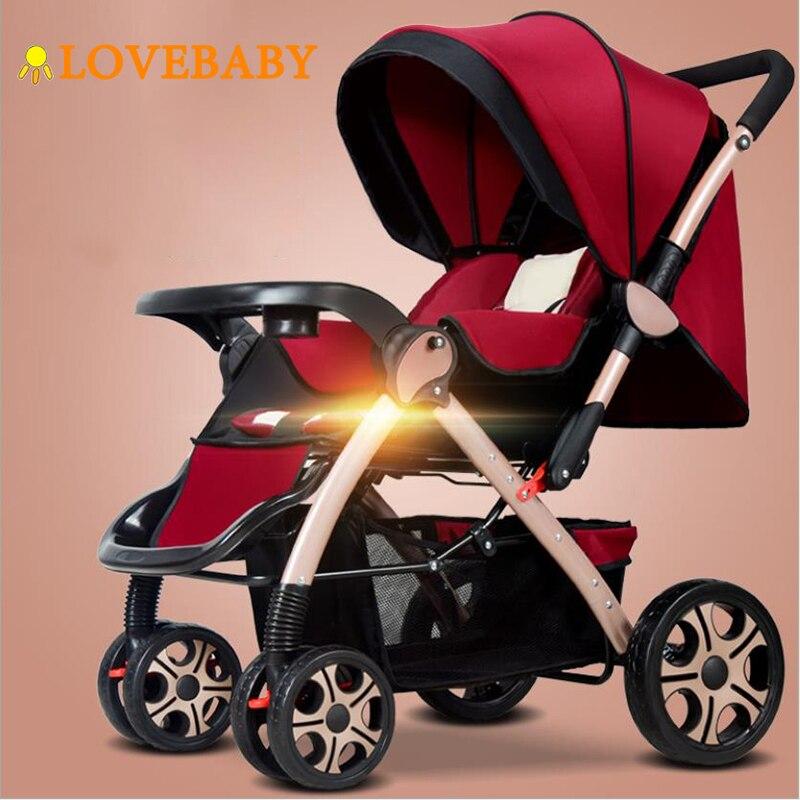 IIILOVEBABY Baby Stroller 3 in 1 Lightweight Folding Light Carrying Belt Suit Lying Seat Hot Mom Four Wheels Stroller Baby Car|Four Wheels Stroller| |  - title=