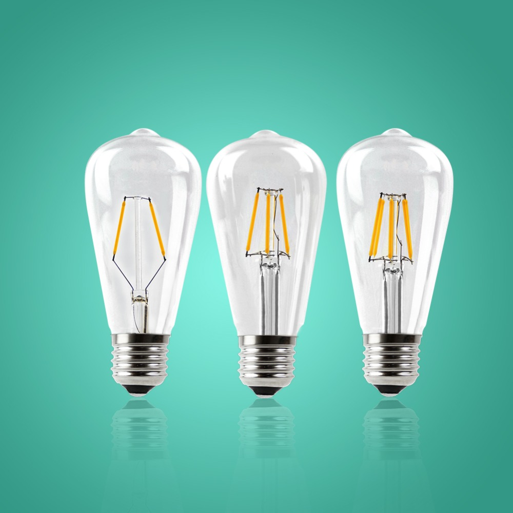 IMINOVO 10pcs LED Filament Bulb Light E27 ST64 Vintage LED Edison Bulbs Retro Glass Dimmable Lamp 2W 4W 6W 8W AC110-220V Office e27 led 8w white warm white cob led filament retro edison led bulbs 85 265v