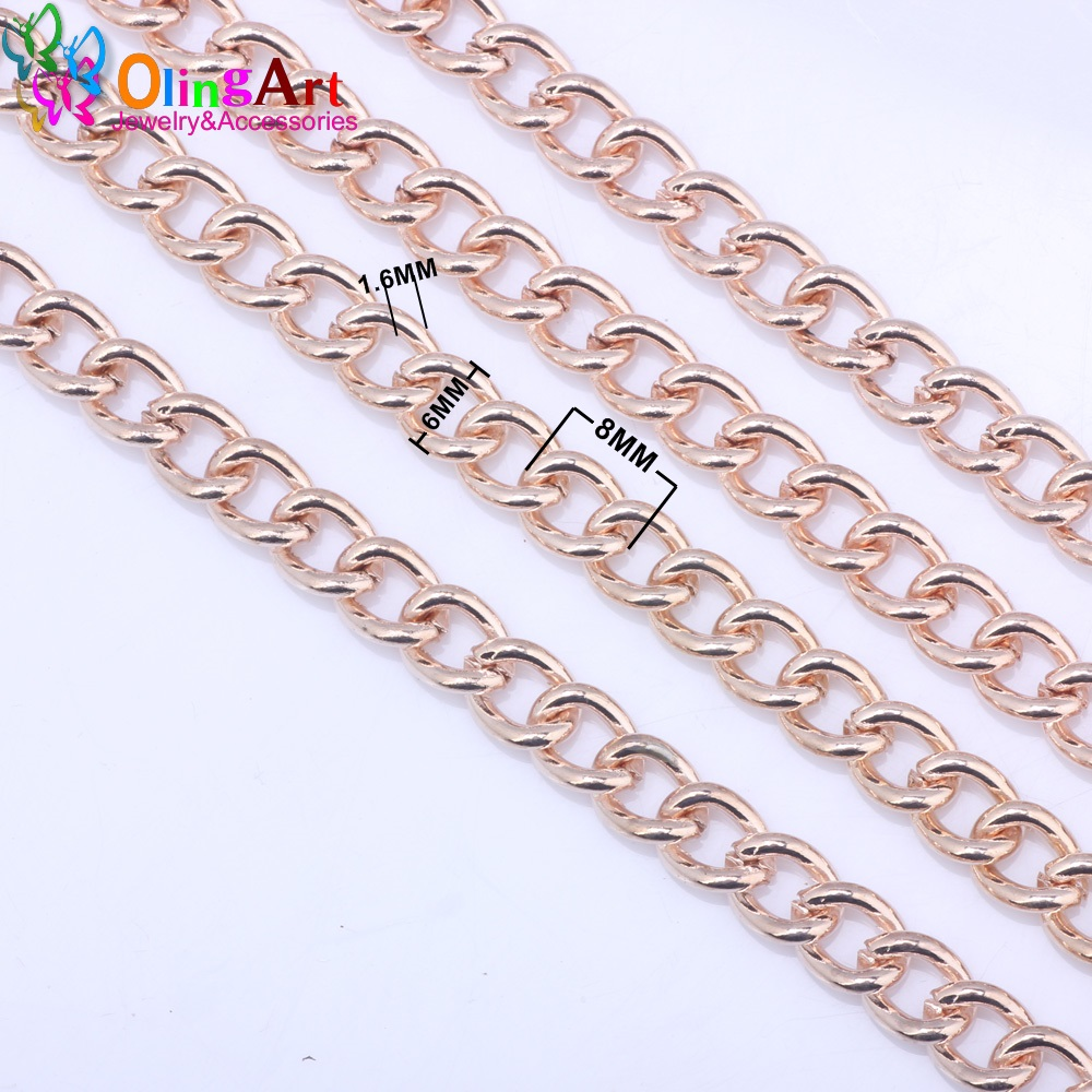 OlingArt 540MM/lot 8MM Rose Gold Color Plated Oval Shape Twisted Cross Link Chains DIY Jewelry Accessories making rose gold plated oval ribbon necklaces anti allergic