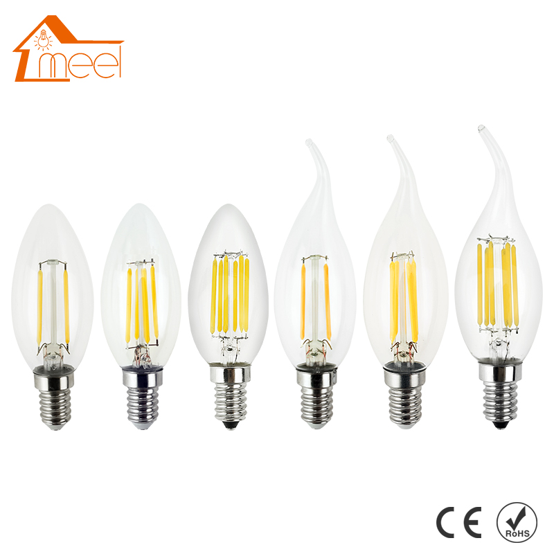 LED Candle Light E14 Filament Light Dimmable Glass Lamp C35 C35L 220V 240V 4W 8W Bulb Antique Retro Vintage Edison Led Bulb 5pcs e27 led bulb 2w 4w 6w vintage cold white warm white edison lamp g45 led filament decorative bulb ac 220v 240v