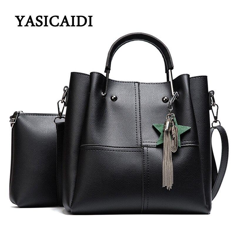 Striped Patchwork Women Shoulder Bags Fashion Pu Leather 2pcsComposite Bag Famous Designer Brand Tassel Female Handbag