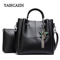 Striped Patchwork Women Shoulder Bags Fashion Pu Leather 2pcsComposite Bag Famous Designer Brand Tassel Female Handbag