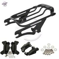Black Motorcycle Luggage Rack 2 Up Tour Pak 4 Point Docking Kit Case For Harley FLHT