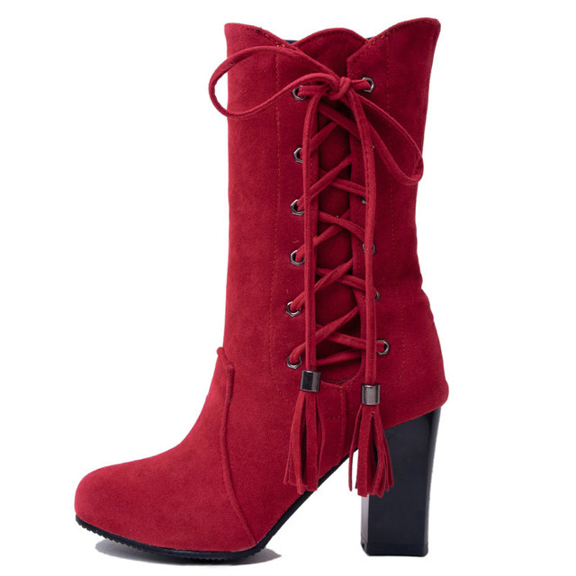 Winter Square High Heel Woman Fringe Mid Calf Boots Fashion Side Zipper Calf Boots Woman Black Red Brown Gray 2