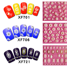 24 Styles White Cute 3D Nail Art Sticker Tiny Flower Butterfly Heart Design Transfer Stickers LXF