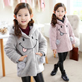 2016 Winter Children's Face Cartoon Velvet Coat Outerwear For Girls Jacket Clothing Smile Jacket Warm Thick Kids Baby Clothes