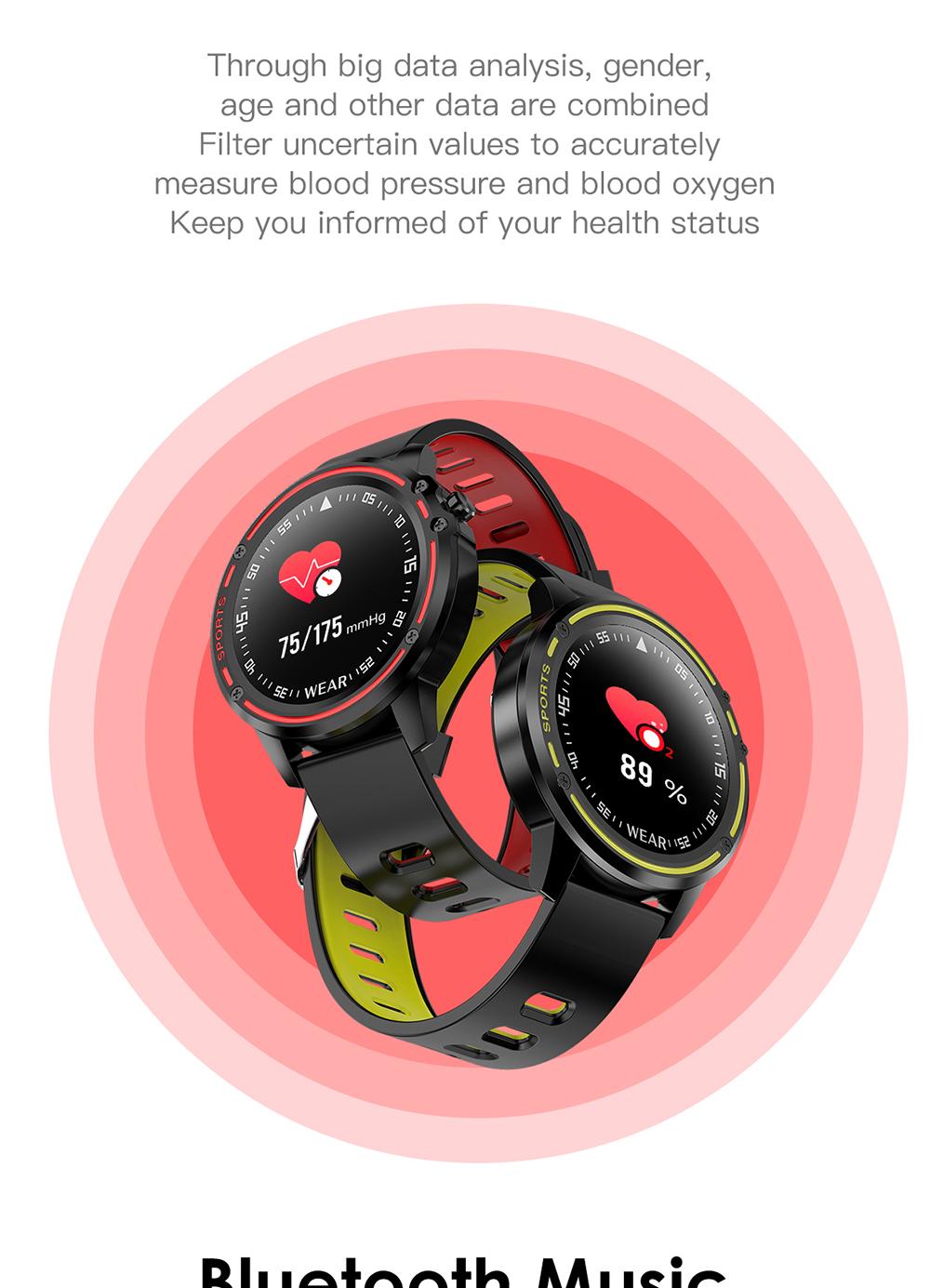 Reloj inteligente L8 IP68 para Hombre, Reloj inteligente resistente al agua con ECG presión arterial mediante PPG, relojes deportivos para fitness 14