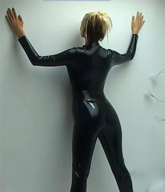 Black Catwomen Jumpsuit Spandex Latex PVC Catsuit