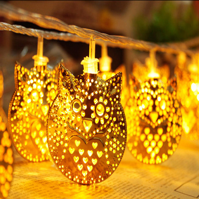 Warm White 20 Filigree Owl Golden Christmas Lights Luces Navidad 5m ...